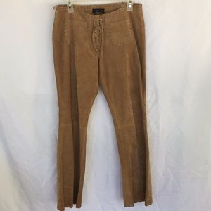 Suede pants with lace front